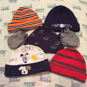 Other - 5 Newborn Beanie Hats, 2 Mittens